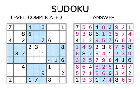Sudoku. Kids and adult mathematical mosaic. Magic square. Logic puzzle game. Digital rebus. Vector illustration  イラスト・ベクター素材