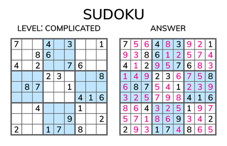 Sudoku. Kids and adult mathematical mosaic. Magic square. Logic puzzle game. Digital rebus. Vector illustration Vectores