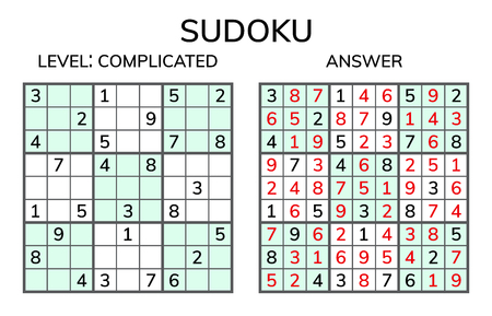 Sudoku. Kids and adult mathematical mosaic. Magic square. Logic puzzle game. Digital rebus. Vector illustration Illustration