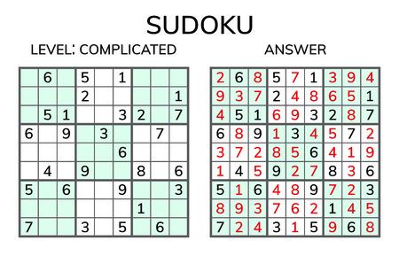 Sudoku. Kids and adult mathematical mosaic. Magic square. Logic puzzle game. Digital rebus. Vector illustration Vettoriali