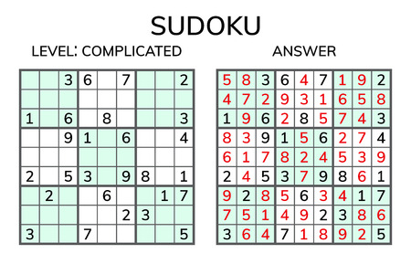Sudoku. Kids and adult mathematical mosaic. Magic square. Logic puzzle game. Digital rebus. Vector illustration 일러스트