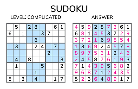 Sudoku. Kids and adult mathematical mosaic. Magic square. Logic puzzle game. Digital rebus. Vector illustration 矢量图像