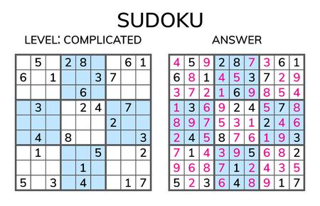 Sudoku. Mathematisches Mosaik für Kinder und Erwachsene. Magisches Quadrat. Logik-Puzzle-Spiel. Digitaler Rebus. Vektor-illustration