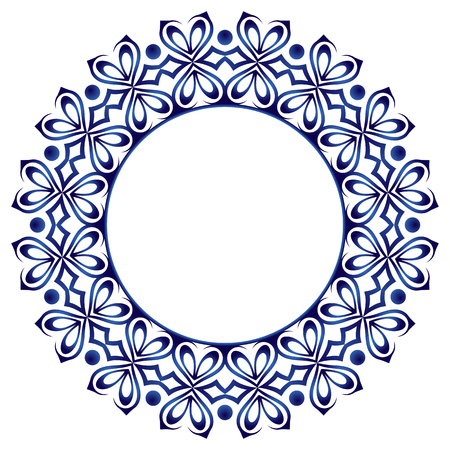 Ceramic tile pattern. Decorative round ornament. White background with art frame. Islamic, indian, arabic motifs. Porcelain pattern design. Abstract floral ornament border. Vector stock illustration 矢量图像