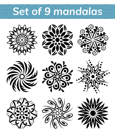 templates for spa and yoga center. Mandala set. Indian antistress medallion. Collection of relax symbols. Abstract henna flower icon. Vector stock illustration