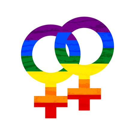 Lesbian, gay, bisexual, transgender LGBT pride symbol and sign. Gay and lesbian love. Rainbow vector stock illustration Illustration