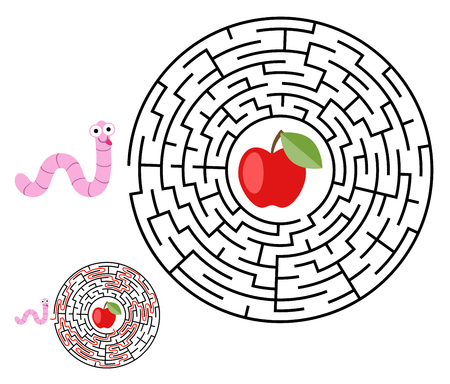 Labyrinth, maze conundrum for kids. Entry and exit. Children puzzle game. Help the worm to crawl to apple. Vector illustration Illustration