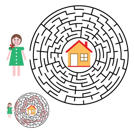 Labyrinth, maze conundrum for kids. Entry and exit. Children puzzle game. Help the girl to get home. Vector illustration