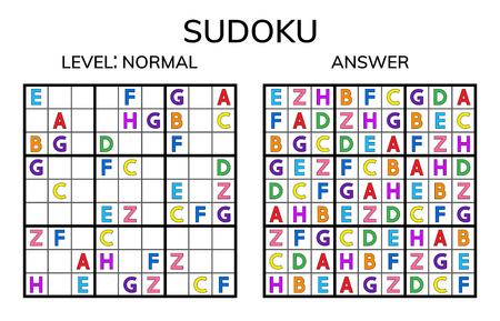 Sudoku. Kids and adult mathematical mosaic. Magic square. Logic puzzle game. Digital rebus. Vector illustration 向量圖像