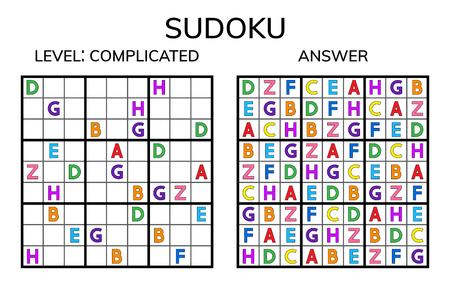 Sudoku. Kids and adult mathematical mosaic. Magic square. Logic puzzle game. Digital rebus. Vector illustration Ilustração