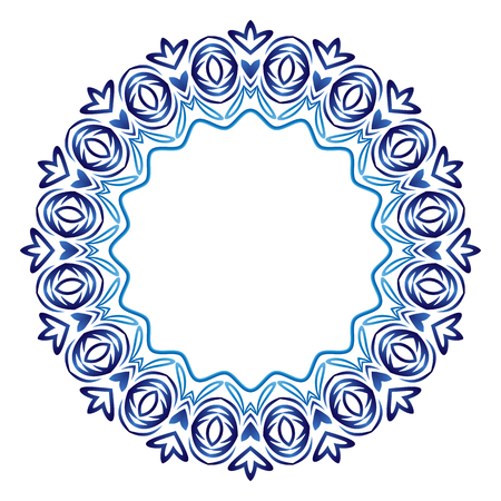 Decorative round ornament. Ceramic tile pattern. Pattern for plates or dishes. Islamic, indian, arabic motifs. Porcelain pattern design. Abstract floral ornament border. Vector stock illustration Ilustração