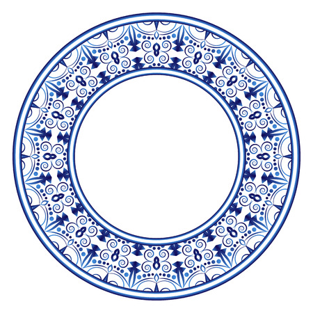 Decorative round ornament. Ceramic tile pattern. Pattern for plates or dishes. Islamic, indian, arabic motifs. Porcelain pattern design. Abstract floral ornament border. Vector stock illustration 矢量图片