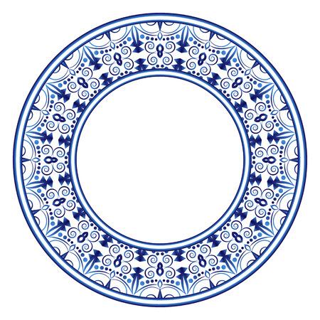 Dekoratives rundes Ornament. Keramikfliesenmuster. Muster für Teller oder Geschirr. Islamische, indische, arabische Motive. Musterdesign aus Porzellan. Abstrakte florale Ornamentgrenze. Vektorgrafik auf Lager Vektorgrafik