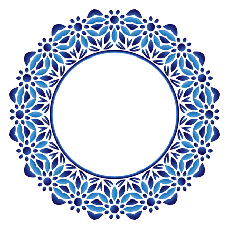 Decorative round ornament. Ceramic tile pattern. Pattern for plates or dishes. Islamic, indian, arabic motifs. Porcelain pattern design. Abstract floral ornament border. Vector stock illustration Ilustrace
