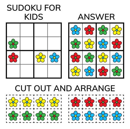 Sudoku. Mosaïque mathématique pour enfants et adultes. Carré magique. Jeu de puzzle logique. Rébus numérique. Illustration vectorielle Vecteurs