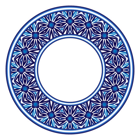 Decorative round ornament. Ceramic tile pattern. Pattern for plates or dishes. Islamic, indian, arabic motifs. Porcelain pattern design. Abstract floral ornament border. Vector stock illustration Illustration