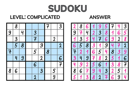 Sudoku. Kids and adult mathematical mosaic. Magic square. Logic puzzle game. Digital rebus. Vector illustration Ilustração