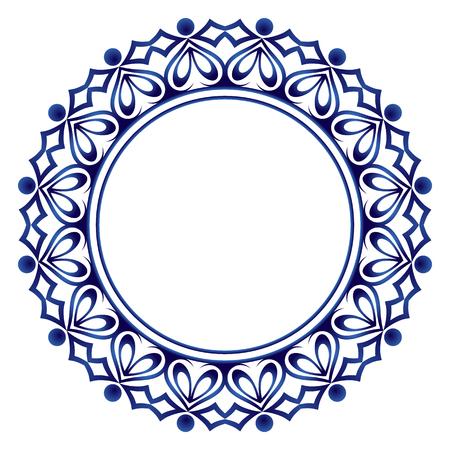 Adorno redondo decorativo. Patrón de baldosas de cerámica. Patrón para platos o platos. Motivos islámicos, indios, árabes. Diseño de patrón de porcelana. Frontera de ornamento floral abstracto. Ilustración vectorial de stock