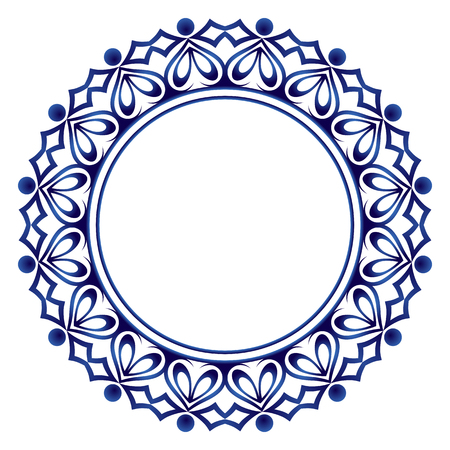 Ornamento rotondo decorativo. Modello di piastrelle di ceramica. Modello per piatti o stoviglie. Motivi islamici, indiani, arabi. Disegno del modello di porcellana. Bordo astratto dell'ornamento floreale. Illustrazione di riserva di vettore