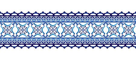 Ceramic tile border pattern. Islamic, indian, arabic motifs. Damask border seamless pattern. Porcelain ethnic bohemian background.  Abstract flower. Vector illustration