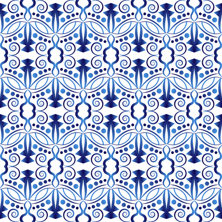 Ceramic tile pattern. Islamic, indian, arabic motifs. Damask seamless pattern. Porcelain ethnic bohemian background.  Abstract flower. Print for fabric and paper. Vector illustration