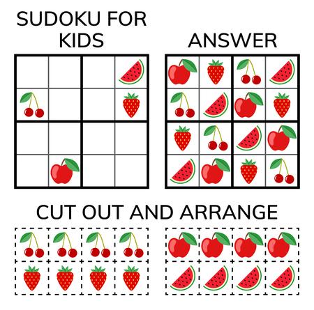 Sudoku. Mozaika matematyczna dla dzieci i dorosłych. Magiczny kwadrat. Logiczna gra logiczna. Cyfrowa rebus. Ilustracja wektorowa
