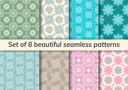 Pattern set arabic, indian, japanese, islamic motifs. Collection of 8 patterns. Mandala seamless pattern. Ethnic bohemian background. Cute paper background. Abstract flower. Vector illustration Illustration