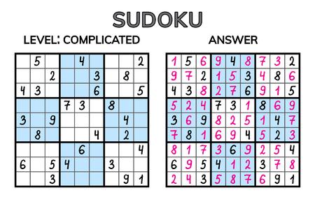 Sudoku. Kids and adult mathematical mosaic. Magic square. Logic puzzle game. Digital rebus. Vector illustration Illustration