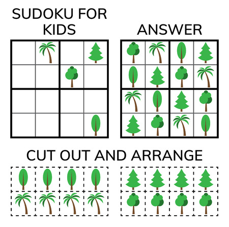 Sudoku. Kids and adult mathematical mosaic. Magic square. Logic puzzle game. Digital rebus. Vector illustration Çizim