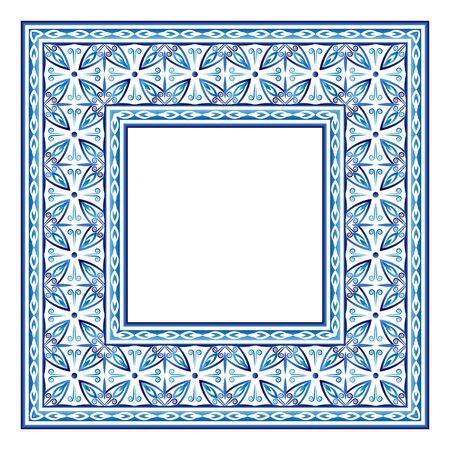 Border frame ceramic tile pattern. Islamic, indian, arabic motifs. Damask border seamless pattern. Porcelain ethnic bohemian background.  Abstract flower. Vector illustration