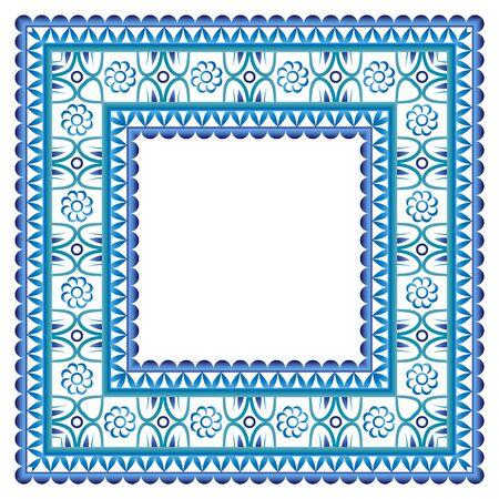 Border frame ceramic tile pattern. Islamic, indian, arabic motifs. Damask border seamless pattern. Porcelain ethnic bohemian background. Abstract flower. Vector illustration Vector Illustratie