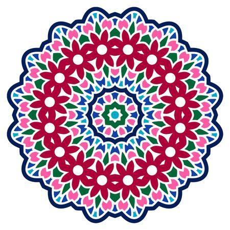 Mandala. Indian antistress medallion. Abstract islamic flower, arabic henna design, yoga symbol. Color mandala. White background. Vector stock illustration