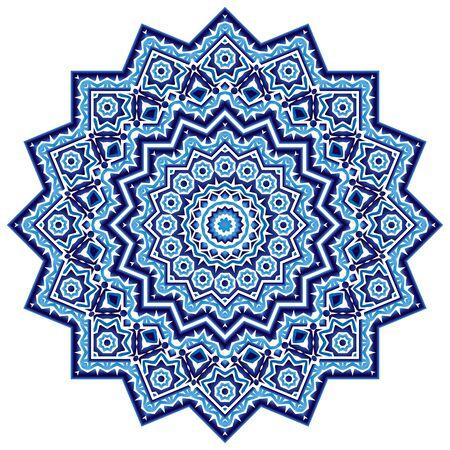 Mandala. Indian antistress medallion. Abstract islamic flower, arabic henna design, yoga symbol. White background. Vector illustration Ilustración de vector