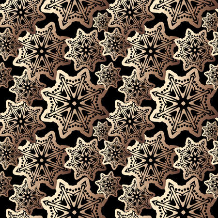 Snowflake gold foil seamless pattern. Snow pattern with luxury snowflakes. Festive Christmas and New Year background. Winter vector stock illustration Çizim