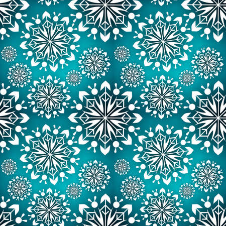 Snowflake seamless pattern. Snow pattern with snowflakes. Festive Christmas and New Year background. Winter vector stock illustration