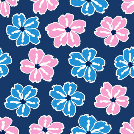 Floral seamless pattern. Cute floral background. Pattern for baby, kids and child background with flower brush strokes. Curtain pattern. Hand drawn doodle texture. Vector stock illustration Çizim