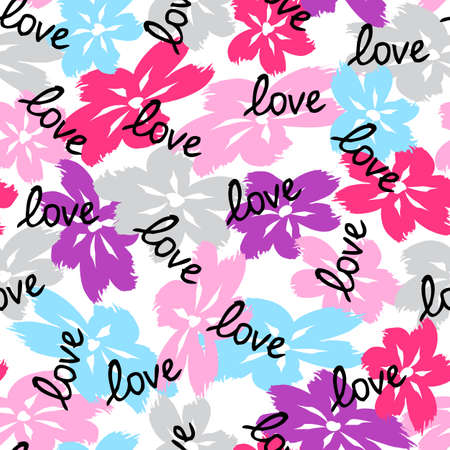 Floral seamless pattern. Cute floral background. Pattern Valentines day love background with flower brush strokes. Curtain pattern. Hand drawn doodle texture. Vector stock illustration