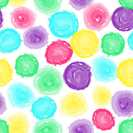 Circle seamless pattern. Abstract baby background with round brush strokes. Curtain pattern. Hand drawn texture. Stylish polka dot. Doodles round spots vector background. Vector stock illustration.