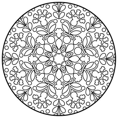 Coloring book pages. Mandala. Indian antistress medallion. Abstract islamic flower. Children's and adult anti-stress coloring book. White background, black outline. Vector stock illustration Çizim