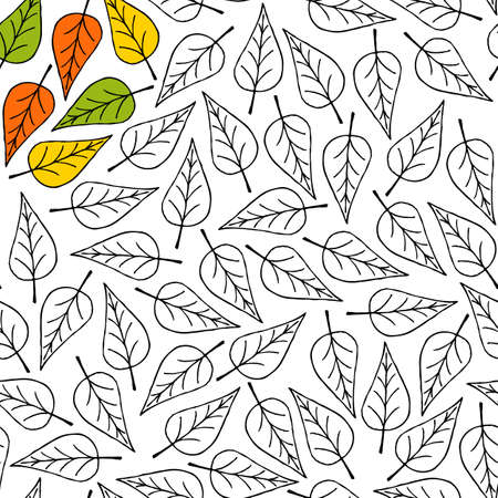 Flying and falling autumn leaves. Anti-stress coloring page for adults and children. Seamless pattern with leaves for coloring. White background. Vector stock illustration