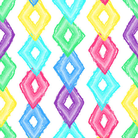Rhombus paint brush seamless pattern. Abstract baby background with rhombus brush strokes. Curtain pattern. Hand drawn doodle texture. Vector stock illustration