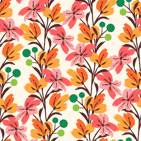 Floral seamless pattern. Cute floral background. Pattern for adult, baby, kids and child background with flower brush strokes. Curtain pattern. Hand drawn doodle texture. Vector stock illustration Çizim