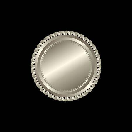 Rundes goldenes Abzeichen isoliert auf schwarzem Hintergrund, Siegelstempel gold Luxus elegante Banner con, Vektor-Illustration Zertifikat Goldfoliensiegel oder Medaille isoliert. Vektorgrafik