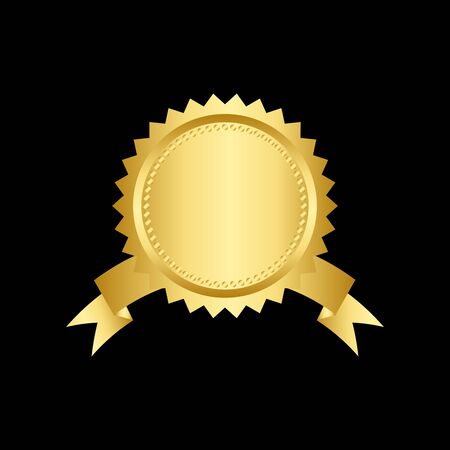 Golden seal with ribbons isolated on black background. Vector design element