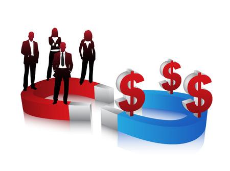 bar magnet: Vector illustration of business people