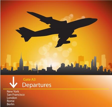 airway: Vector illustration of departure banner.