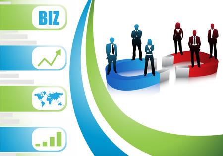 bar magnet: Vector illustration of business people Illustration