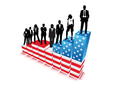 Business people and American graph Illustration