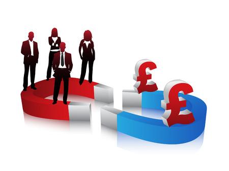 bar magnet: Vector illustration of business people. Illustration