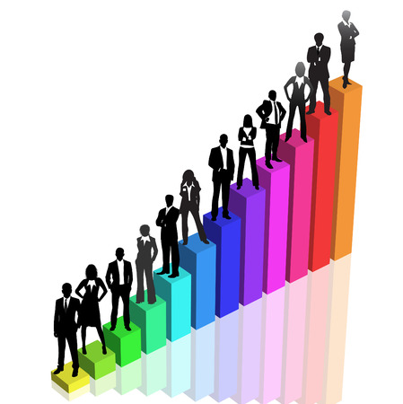 Vector illustration of business people on graph.